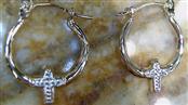 14k two tone w/cross hoop earrings